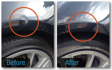 Photo of car dent before and after